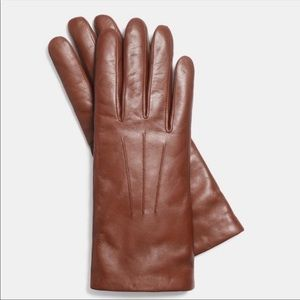 Coach Short Leather Gloves with Cashmere Lining